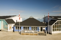 Ilulissat;Greenland;arctic;Inuit;colour;colourful;ice;iceberg;floating;sea;coast;Kangia;Ilulissat-glacier;Sermeq-Kujalleq;eskimo;house;housing;rock;coast;climate-change;global-warming;Arctic;arctic-circle;accomodation;wood;wooden;insulated;Jacobshavn-glacier;Jacobshavn;colour;colourful;house;housing;town;village;community;summer;hotel;tourism;accomodation