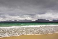 Isle-of-Harris;Outer-Hebrides;Scotland;UK;coast;sea;sea-loch;tidal;Luskentyre;Luskentyre-Beach;blue;blue-sea;aquamarine;overcast;cloudy;grey;sandy;shell-sand;mountain;cloud;grey;overcast