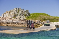 Cornwall;UK;coastal;sea;atlantic;ocean;sky;blue;outdoors;landscape;summer;sun;Tresco;island;Scilly;Scilly-Isles;Isles-of-Scilly;Gulf-Stream;mild;tropical;North-Atlantic-Drift;sea-temperature;ocean-current;vegetation;climate-change;global-warming;tropical;beach;sand;sandy;tide;low-tide;intertidal;aquamarine;quay;fork-lift-truck