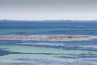 Cornwall;UK;coastal;sea;atlantic;ocean;blue;summer;sun;Tresco;island;Scilly;Scilly-Isles;Isles-of-Scilly;Gulf-Stream;mild;tropical;North-Atlantic-Drift;sea-temperature;ocean-current;climate-change;global-warming;tropical;tide;low-tide;intertidal;aquamarine;shallow;sea-bed