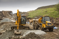 Rydal;Hydro-electric;scheme;Ambleside;Lake-District;UK;HEP;renewable-energy;green;National-Park;hill;climate-change;construction;global-warming;carbon-neutral;investment;Scandale;JCB;plant;machinery;man;work-man;ground-works;road;track