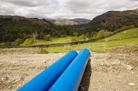 Rydal;Hydro-electric;scheme;Ambleside;Lake-District;UK;HEP;renewable-energy;green;National-Park;hill;climate-change;construction;global-warming;carbon-neutral;investment;Scandale;ground-works;road;track;pipe;piping;blue