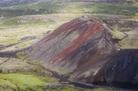 Iceland;lava;lava-flow;lava-field;magma;rock;geology;volcanic;vulcanicity;moss;green;covered;covering;carpet;carpetted;growth;crater;volcanic-crater;volcanoe;fissure-eruption;vulcanicity;cone;cinder;ash;Grabrokarfell;red