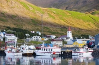 Iceland;Northern-Iceland;Siglufjordur;town;house;housing;community;hill;slope;mountain;steep;church;harbour;coast;boat;fishing-fleet;fishing-boat