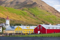 Iceland;Northern-Iceland;Siglufjordur;town;house;housing;community;hill;slope;mountain;steep;avalanche;avalanche-defence;avalanche-defences;avalanche-protection;barrier;church;building;red;yellow