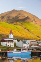 Iceland;Northern-Iceland;Siglufjordur;town;house;housing;community;hill;slope;mountain;steep;avalanche;avalanche-defence;avalanche-defences;avalanche-protection;barrier;church;harbour;coast;boat;fishing-fleet;fishing-boat