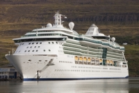 Iceland;Northern-Iceland;coast;sea;Akureyri;cruise-ship;cruise-liner;yacht;boat;ship;Jewel-of-the-Seas;cruising;port;stop-off;harbour;bridge;holiday;tourist;tourism;port-of-call;deck;massive;huge;large;big;floating-palace;floating-hotel;port-hole;balcony