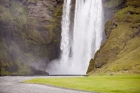 Skogar;Skogarfoss;white-water;water;cascade;waterfall;green;cliff;drop;river;Iceland;escarpment