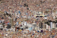 South-America;Bolivia;La-Paz;city;house;housing;dense;density;slope;hilly;Andes;altitude;high;infrastructure;overcrowded;population;building;buildings;high-rise;tower-block;city-centre