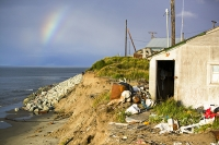 Shishmaref-alaska-Arctic-native-global-warming-climate-change-th;rainbow;building;house;threatened
