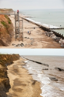 defences;sea;sea-defences;global-warming;sea-level-rise;erosion;coastal-erosion;glacial;till;deposits;beach;cliff;collapse;coast;Happisburgh;Norfolk;sea-defences;rapid-erosion;threat;vulnerable;edge;sea-level-rise;crumbling;soft;concrete;remains;house;destroyed;concrete;before;after;steps;contrast;metal