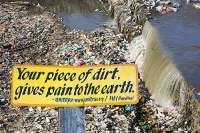 Nepal;Asia;Kathmandu;river;water;polluted;pollution;rubbish;litter;trash;plastic;sewer;open-sewer;raw-sewage;hygiene;water-quality;Bishnumati;Bishnumati-River;health;health-threat;garbage;unhygienic;environment;human-waste;trashed;appaling;ecocide;ill-treatment;weir;pain;earth;sign;dirt;proverb;composite