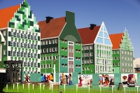 Amsterdam;Holland;Netherlands;city;town;architecture;design;modern;green;blue;colour;colourful;front;facade;designer;style;Zaanstadt;beautiful;trendy;modern-architecture;railway-station;train-staion;roof;roof-lines;window;cladding;wooden-cladding