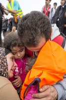 Greece;Syria;EU;europe;Eurpean-borders;border;crossing;Syrian-migrant;migration;refugee;flee;war;movement;illegal-immigrant;Aegean;Mediteranean;sea;ocean;danger;humanitarian;crisis;ISIS;Arab-Spring;climate-change;Lesbos;Lesvos;Mytilini;Efthaloe;coast;island;fleeing;family;aid;charity;Mytilene;migrant-crisis;human;human-migration;floatation-device;life-jacket;life-vest;landing;freedom;child;family;girl;father;emotional;emotion;cry;crying;relief;face;mother;wife;muslim;head-scarf