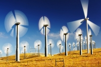USA;US;America;California;Mojave-Desert;desert;electricity;generating;renewable;renewable-energy;wind-power;carbon-neutral;climate-change;global-warming;investment;clean-energy;technology;construction;green;green-energy;wind-turbine;wind-farm;truck;crane;Tehachapi-Pass;turning;rotating;tower;frame;movement;motion-blur