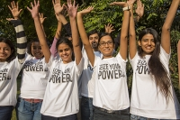 India;Asia;climate-change;global-warming;worker;woman;female;WWF;man;male;T-shirt;campaign;Seize-Your-Power;renewable-energy;happy;smile;young;workforce;charity;charity-worker;NGO;arms;wave