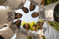 India;Asia;climate-change;global-warming;worker;woman;female;WWF;man;male;T-shirt;campaign;Seize-Your-Power;renewable-energy;happy;smile;young;workforce;charity;charity-worker;NGO;embrace;circle;close