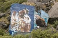 Greenland;Kangelussuaq;rock;arctic;Inuit;painted;painting;art;scene;community;women;baby;Musk-Ox;mural;paint;blue;willow;shrub;scrub