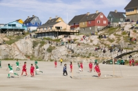 climate-change;global-warming;Greenland;Arctic;Illulissat;Unesco-world-heritage-site;landscape;summer;Illulissat-ice-fjord;sermeq-kujalleq;summer;Inuit;Jacobshaven;Jacobshaven-glacier;isbrae;fjord;football;match;football-match;game;sport;competition;team;teams;pitcj;dirt;dusty;dust;fitness;energy;exercise;rock;house;housing;colour;colourful;Greenlandic;goal;celebrate;celebration