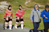 Ilulissat;Greenland;arctic;women;female;clothes;clothing;costume;national-costume;Greenlandic;pride;proud;culture;identity;Inuit;Eskimo;colour;colourful;red;bright;beads;necklace;seal-skin;trousers;boots;Kalaallisuut;Unnaat;Nuilaqutit;Takisut;gathering;friends;friendship;community;town;village;design;art;artistic;flowers;lace
