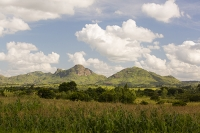 Africa;Malawi;rrural;countryside;Maize;crop;farming;agriculture;peak;hill;kopje;sky;blue;cloud;woodland;granite;rock;geology;tree;green;rainy-season