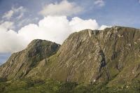 Africa;Malawi;rrural;countryside;peak;hill;kopje;sky;blue;cloud;woodland;granite;rock;geology;tree;green;rainy-season;Mulanje;mountain;steep;waterfall