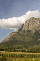 Africa;Malawi;rrural;countryside;peak;hill;kopje;sky;blue;cloud;woodland;granite;rock;geology;tree;green;rainy-season;Mulanje;mountain;crop;maize;farming;agriculture;food-production