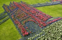 Keukenhof;Lisse;Holland;Netherlands;Spring;flower;flowers;bulb;tulip;tulips;bulb-fields;tulip-fields;horticulture;production;agriculture;floral;colour;colourful;Hyacinth;bouquet;specialist;red;yellow;orange;season;famous;garden;world-famous;Spring-garden;flower-bed;border;borders;grass;lawn;green;manicured;manicure;Daffodil;art;floral-art;Tower-Bridge