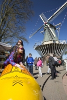 Keukenhof;Lisse;Holland;Netherlands;Spring;flower;flowers;tulip;horticulture;production;agriculture;floral;colour;colourful;red;yellow;season;famous;garden;world-famous;Spring-garden;tourism;tourist-attraction;visitor;Dutch;icon;iconic;clog;clogs;windmill;wind-power;sail;renewable;renewable-energy;yellow;tourist;tourist-attraction;child;children;girl