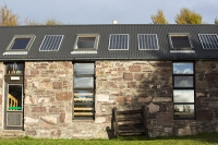 Scoraig;Little-Loch-Broom;Scotland;Highlands;remote;highlands;moorland;peninsular;community;green;off-grid;power;electricity;green;carbon-neutral;Coft;corfting;renewable-energy;school;self-sufficiency;home-made;DIY;resilience;self-supporting;blade;basic;wire;support;pole;blade;croft;crofting;woodland;shelter;solar-panel;PV;photo-voltaic-solar-school