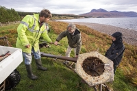 Scoraig;Little-Loch-Broom;Scotland;Highlands;remote;highlands;moorland;peninsular;community;green;off-grid;power;electricity;green;carbon-neutral;Coft;corfting;renewable-energy;wind-turbine;self-sufficiency;home-made;DIY;resilience;self-supporting;blade;basic;wire;support;pole;blade;croft;crofting;man;male;engineer;maintenance;tools;reapir;self-sufficient;hill;peak;mountain;shore;windy;exposed;arbon-footprint;climate-change;global-warming