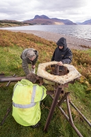 Scoraig;Little-Loch-Broom;Scotland;Highlands;remote;highlands;moorland;peninsular;community;green;off-grid;power;electricity;carbon-neutral;Coft;corfting;renewable-energy;wind-turbine;self-sufficiency;home-made;DIY;resilience;self-supporting;blade;basic;wire;support;pole;croft;crofting;man;male;engineer;maintenance;tools;reapir;self-sufficient;hill;peak;mountain;shore;windy;exposed;arbon-footprint;climate-change;global-warming