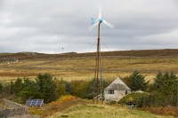 Scoraig;Little-Loch-Broom;Scotland;Highlands;remote;highlands;moorland;peninsular;community;green;off-grid;power;electricity;green;carbon-neutral;Coft;corfting;renewable-energy;wind-turbine;self-sufficiency;home-made;DIY;resilience;self-supporting;blade;basic;wire;support;pole;blade;house;roundhouse;green;architecture;shingles;wood;wooden;carbon-footprint;climate-change;global-warming;solar-panel;PV;photo-voltaic