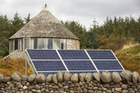 Scoraig;Little-Loch-Broom;Scotland;Highlands;remote;highlands;moorland;peninsular;community;green;off-grid;power;electricity;green;carbon-neutral;Coft;corfting;renewable-energy;wind-turbine;self-sufficiency;home-made;DIY;resilience;self-supporting;blade;basic;wire;support;pole;blade;house;roundhouse;green;architecture;shingles;wood;wooden;carbon-footprint;climate-change;global-warming;solar-panel;PV;photo-voltaic;design