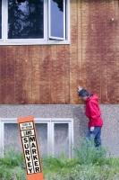 collapse-permafrost-melting-global-warming-climate-change-Fairba;housing;melting-permafrost;methane;Co2;warming;climate;subsidence;subside;survey;post;marker;marker-post;surveying