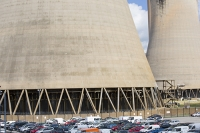 Drax;Drax-power-station;power;power-station;generating;electricity;climate-change;global-warming;emissions;greenhouse-gas;polluter;polluting;electricity;Yorkshire;UK;energy;grid;electric;cooling-tower;infrastructure;biofuel;bio-fuel;wood;greenwash;greenwashing;C02;carbon-dioxide;greenhouse-gas;coal-coal-fired-power-station;conversion;converting;car;car-park;water
