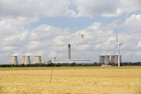 Drax;Drax-power-station;power;power-station;generating;electricity;climate-change;global-warming;emissions;greenhouse-gas;polluter;polluting;electricity;Yorkshire;UK;energy;grid;electric;cooling-tower;infrastructure;biofuel;bio-fuel;wood;greenwash;greenwashing;C02;carbon-dioxide;greenhouse-gas;coal-coal-fired-power-station;conversion;converting;chimney;smoke-stack;field;farming;arable;wheat;cereal;renewable;contrast;renewable-energy;good-bad;evil;wind-turbine;wind-farm;blade;wind-power;Kestrel;bird-scarer;hover;hovering;kite