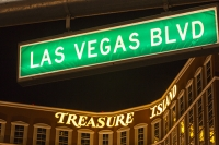 USA;US;America;aerial;Nevada;Las-Vegas;town;hotel;gambling;casino;lighting;electricity;energy-use;excess;excessive;carbon-footprint;climate-change;global-warming;unsustainable;illuminated;neon;neon-lights;dark;night;night-time;colourful;The-Strip;strip;Las-Vegas-Boulevard;Treasure-Island