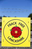 fracking;frack;gas;shale-gas;energy;power;drilling;protest;banner;anti;camp;protest-camp;environment;environmentalist;green;politics;planning-permission;Lancashire;UK;Fylde;Blackpool;Little-Plumpton;farmland;colourful;protest;protesting;colourful;campaign;climate-change;global-warming;pollution;destruction;health;future;movement;banner;placard;Cuadrilla;colourful;barbed-wire