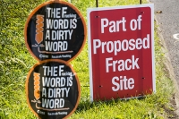 fracking;frack;gas;shale-gas;energy;power;drilling;protest;banner;anti;camp;protest-camp;environment;environmentalist;green;politics;planning-permission;Lancashire;UK;Fylde;Blackpool;Little-Plumpton;farmland;colourful;protest;protesting;colourful;campaign;climate-change;global-warming;pollution;destruction;health;future;tent;movement;banner;placard;Cuadrilla;colourful;dirty;dirty-word;play-on-words