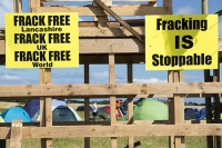 fracking;frack;gas;shale-gas;energy;power;drilling;protest;banner;anti;camp;protest-camp;environment;environmentalist;green;politics;planning-permission;Lancashire;UK;Fylde;Blackpool;Little-Plumpton;farmland;colourful;protest;protesting;colourful;campaign;climate-change;global-warming;pollution;destruction;health;future;tent;movement;banner;placard;Cuadrilla;colourful;frack-free;wood;wooden;platform;tower