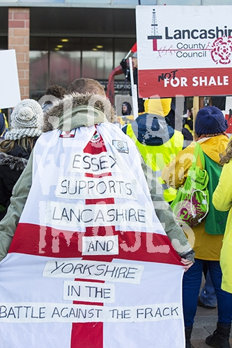 Cuadrilla applied to frack for shale gas in several sites in Lancashire but was turned down by Lancashire County Council, after huge local opposition. Cuadrilla appealed the decision. Tuesday 9th february was the first day of the appeal hearing at which a huge anti fracking demonstration was organised. It is widely believed that whatever the appeals decision it will be overturned by the Conservative Government, who are hell bent on fracking for gas.
