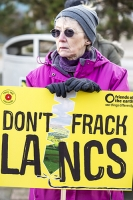 fracking;shale-gas;Blackpool;Lancashire;UK;protest;fossil-fuel;climate-change;global-warming;banner;placard;concern;environment;environmentalist;yellow;colourful;gas;energy;energy-policy;planning;planning-application;planning-appeal;Cuadrilla;David-and-Goliath;battle;localism;democracy;person;man;woman;concerned;green;pensioner;OAP;old
