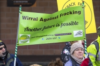 fracking;shale-gas;Blackpool;Lancashire;UK;protest;fossil-fuel;climate-change;global-warming;banner;placard;concern;environment;environmentalist;yellow;colourful;gas;energy;energy-policy;planning;planning-application;planning-appeal;Cuadrilla;David-and-Goliath;battle;localism;democracy;person;man;woman;concerned;green;Wirral