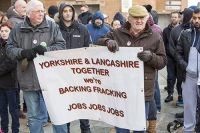 fracking;shale-gas;Blackpool;Lancashire;UK;protest;fossil-fuel;climate-change;global-warming;banner;placard;concern;environment;environmentalist;yellow;colourful;gas;energy;energy-policy;planning;planning-application;planning-appeal;Cuadrilla;David-and-Goliath;battle;localism;democracy;person;man;woman;concerned;green;heart;Bowland-shale;pro-fracking