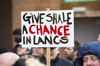 fracking;shale-gas;Blackpool;Lancashire;UK;protest;fossil-fuel;climate-change;global-warming;banner;placard;concern;environment;environmentalist;yellow;colourful;gas;energy;energy-policy;planning;planning-application;planning-appeal;Cuadrilla;David-and-Goliath;battle;localism;democracy;person;man;woman;concerned;green;heart;Bowland-shale;pro-fracking;chance