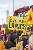 fracking;shale-gas;Blackpool;Lancashire;UK;protest;fossil-fuel;climate-change;global-warming;banner;placard;concern;environment;environmentalist;yellow;colourful;gas;energy;energy-policy;planning;planning-application;planning-appeal;Cuadrilla;David-and-Goliath;battle;localism;democracy;person;man;woman;concerned;green;red;bus;double-decker;double-decker-bus;battle-bus;Blackpool-Tower