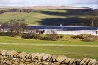 UK;solar;solar-power;solar-farm;solar-panel;PV;photo-voltaic;electricity;green;clean;carbon-neutral;climate-change;global-warming;innovative;novel;floats;renewable-energy;roof;barn;cow-shed;farm;Lancashire;construction;farming;carbon-footprint;Yorkshire-Dales