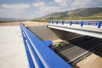 Andalucia;Spain;transport;travel;infrastructure;road;road-building;investment;European;funding;EU;development;bridge;blue;road-sign;parapet;modern;fence;fencing;steel
