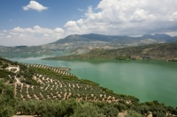 lake;reservoir;water;river;water-supply;hydro;HEP;hydro-electric;renewable-energy;clean;green;carbon-footprint;carbon-nuetral;climate-change;global-warming;electricity;power;generation;Antequera;Iznajar;Spain;Andalucia;green;farming;farmland;orchard